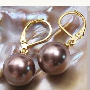 12mm Chocolate south sea shell pearl earrings